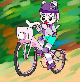 自転車に乗るにゃっきい(JPEG).jpg
